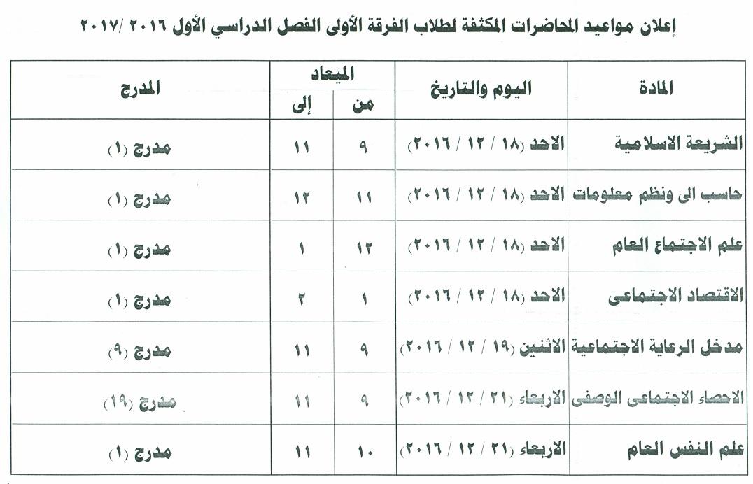 مواعيد المحاضرات المكثقة للفرق الاربعة 2016 - 2017